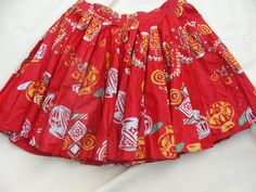 Red Full Circle Fiesta Skirt  Age 6 by Petticoatjanevintage, £5.00