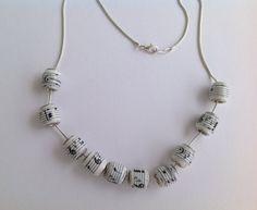 Musica note carta tallone collana o braccialetto di MagdaCrafts
