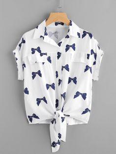 Knotted Hem Bow Print Shirt - French Shirt - Ideas of French Shirt - Knotted Hem Cuffed Bow Print ShirtFor Women-romwe Girls Fashion Clothes, Teen Fashion Outfits, Stylish Outfits, Kids Outfits, Girl Fashion, Cool Outfits, Ootd Fashion, Style Fashion, Vetement Fashion
