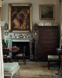 Untouched (since 1964) english country style interior of Sir Albert Richardson (1880-1964), leading English architect. His Bedfordshire home. Christies auction 18/19 september 2013 images by Simon Upton.