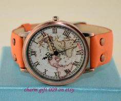 Vintage map watch rivets leisure watch by Charmgift009 on Etsy, $10.99