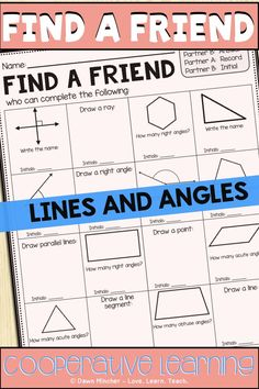 Lines and angles cooperative learning practice using Find a Friend | Students will practice fourth grade geometry skills include drawing and identifying line segments, rays, acute angles, obtuse angles, and right angles. #4thgrademath #commoncoremath #mathactivities #mathprintables