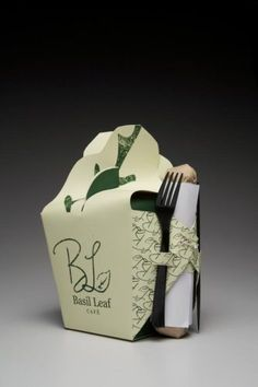 Basil Leaf Cafe: Packaging Redesign by Samantha Levine, via Behance Takeaway Packaging, Salad Packaging, Smart Packaging, Packaging Box, Food Packaging Design, Packaging Design Inspiration, Brand Packaging, Coffee Packaging, Packaging Dielines