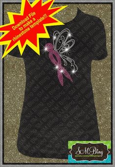 Cancer Ribbon Angel Rhinestone Template by SMBlingDesigns on Etsy
