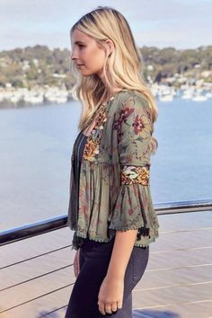 Belmont Jacket in Esme print by Jaase. This light embroidered jacket by Jaase is a statement piece in the ever popular Esme print with stunning embroidered detailing on chest front and sleeves. It is perfect to pair with a tank top, denim shorts or jeans. Trendy Fashion, Boho Fashion, Fashion Dresses, Womens Fashion, Jeans Fashion, Fashion Vintage, Bohemian Tops, Boho Outfits, Spring Outfits