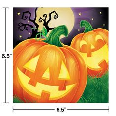 Your drinks will stay fresh and look cool with the Creative Converting Halloween Pumpkin Napkins. These napkins feature a moonlit, starry night with 2 carved pumpkins on the grass with a shadow of a tree in the background. Halloween Party Supplies, Halloween Party Decor, Easy Halloween, Halloween Themes, Halloween Pumpkins, Halloween Celebration, Halloween Bedroom, Halloween Prints, Group Halloween