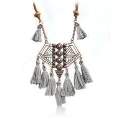 UK/_ Bohemian Hollow Geometry Long Tassel Pendant Chain Necklace Choker Jewelry C
