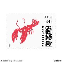 Red Lobster Stamp  Available in three sizes and three rates!  Check out other products with this design by typing in the design name in the product search bar on my Zazzle products home page!  #stamp #postage #post #mail #letter #united #states #postal #service #friend #family #mailing #send #sent #service #greeting #card #lobster #red #sea #creature #ocean #floor #life #nature #planet #earth #cute #chic #illustration #drawing #sketch