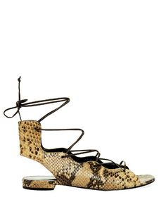 Saint Laurent Lace-up python-effect sandals