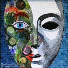 Glasmosaikbild 'Doppelspiel', mosaic mask