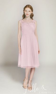 Short Tulle Bridesmaid Dress with Illusion Lace Neck TBQP300 click for 40+ colors