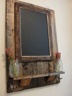 Framed Magnetic Chalkboard with Shelf and Coat/Key/Hat Hooks - could use pallet wood Magnetic Chalkboard, Framed Chalkboard, Chalkboard Ideas, Reclaimed Wood Projects, Diy Pallet Projects, Recycling Projects, Recycled Wood, Pallet Ideas To Sell, Barn Board Projects