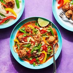 Thai Turkey Meatballs with Coconut Broth and Noodles