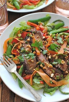 Grilled Asian Steak Salad is a skinny and delicious salad from Bev Cooks