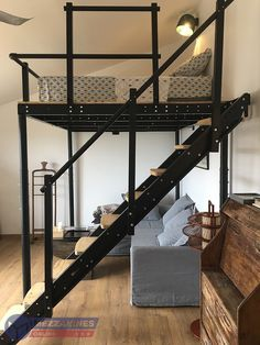 TS 8 Mezzanine The perfect combination of the modern mezzanine and the loft bed. A big double bunk bed with free s Loft Beds For Small Rooms, Double Loft Beds, Cool Loft Beds, Small Loft Apartments, Bunk Bed Rooms, Small Loft Spaces, Lofted Beds, Small Beds, Double Room