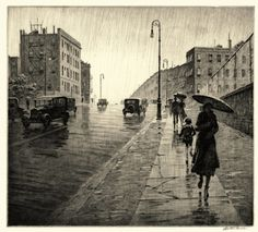 "by Martin Lewis // drypoint print, ""Rainy Day, Queens,"" captures light behind cloudy skies and in slick sidewalk puddles on a grim city day."