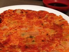Kimchi Jun - Spicy, crispy and fried appetizer that has chopped up fermented kimchi, vegetables, and sometimes seafood or meat. Korean Recipes, Korean Food, Korean Appetizers, Kimchi, Jun, Macaroni And Cheese, Seafood, Spicy, Asian
