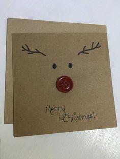 Weihnachtskarte, Weihnachten, Grußkarte, Rentier, Rentier-Karte, Rudolf Rentier, handgemachte Karte, Weihnachtsgeschenk. Schauen Sie sich Rudolf es neue glänzende Knopf Nase! Nett und lustig, ist dies ein Fab einzigartige Karte zu Weihnachten geben! Die Karte kann personalisiert