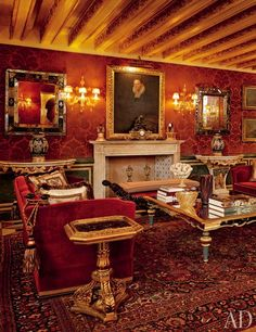 The Explorer's Library is also historically traditional with red damask walls, old navigational instruments, and books on discovery.