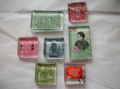 7 Vintage China Postage Stamp Glass Magnets One of by BadCatCraft