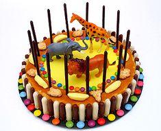 De bonnes idées de décoration pour un gâteau d'anniversaire animaux du cirque. Facile avec des Mikado pour faire la cage.