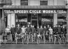 "Christchurch, New Zealand, circa ""Jack Suckling (center right with watch chain) and cyclists outside Speedy Cycle Works, Manchester Street. Champion cyclist Phil O'Shea is third from right."" Photo by Adam Maclay Old Bicycle, Bicycle Shop, Old Bikes, Bike Shops, Velo Vintage, Vintage Cycles, Cycling Art, Cycling Bikes, Mtb"