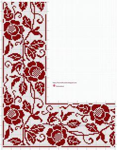 Cross Stitch Rose, Cross Stitch Borders, Crochet Borders, Cross Stitch Animals, Cross Stitch Flowers, Filet Crochet, Cross Stitch Designs, Cross Stitch Patterns, Towel Embroidery