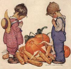 Girl & Boy Praying Vintage Thanksgiving Illustration by Jessie Willcox Smith