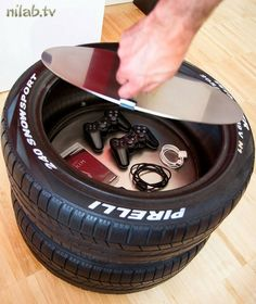 Coffre rangement en pneus