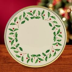 As with all Lenox fine china, this traditional holiday pattern is made in the USA.  Holly and berries are trimmed in 24K gold on a rich ivory bone china background.