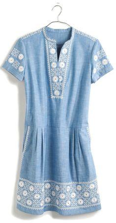Chambray Sunstitch Tunic Dress