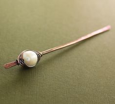 Pearl shawl pin or hair pin stick with copper and white fresh water pearl