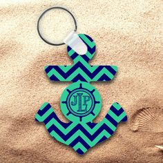 e1309fc573d5f Monogrammed Chevron Nautical Anchor Keychain  Personalized Chevron Nautical  Anchor Key Charm