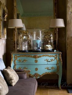 Tiffany Blue French Dresser - love the colour, the handle decoration, the antique/distressed mirrors love the bell jars, love the chaise Purple Home, Azul Tiffany, Tiffany Blue, Classic Decor, French Dresser, Blue Dresser, Turquoise Dresser, Colorful Dresser, Colors