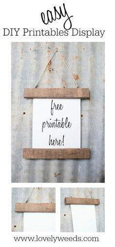 Easy DIY free printables display {www.lovelyweeds.com}