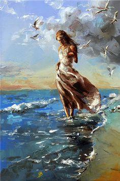 knife paintings, Paintings, Figurative, Figurative Painter, woman paintings, Ladies, American Artist, American Painter,