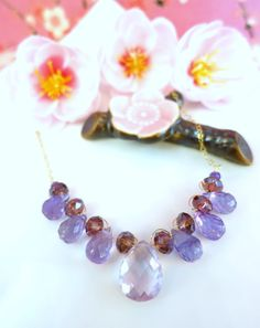 Pink amethyst and purple amethyst gold statement by KBlossoms