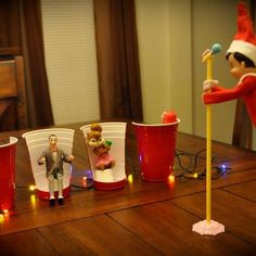 Giggles ~ Elf on the Shelf idea - Elf auditioning for The Voice - Ian would get a kick out of this one since he loves to watch The Voice