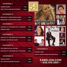 Week of November 9th, 2015 performance schedule. Click to buy tickets.