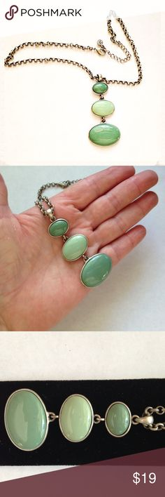 """Really Great Faux Turquoise Necklace 18"""" Really Great Faux Turquoise Necklace. Light and medium faux turquoise pendant and stylish silver tone chain. In like new condition. Offers welcome. Jewelry Necklaces"""