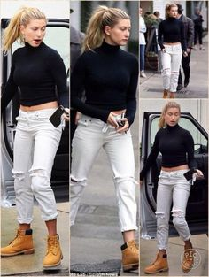 Hailey showed off her ultra-slim figure as she headed to her meeting with her actor father in a cropped black turtleneck and ripped white jeans rolled up at the bottom and work boots. Timberland Boots Outfit Summer, Timberland Outfits Women, Summer Boots Outfit, Outfit With Timberlands, Jeans Outfit For Work, Timberland Fashion, Timberlands Women, Summer Outfits, Crop Top Outfits
