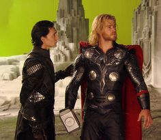 Tom Hiddleston and Chris Hemsworth | #Loki and #Thor on the set of Kenneth Branagh's #Thor (2011)