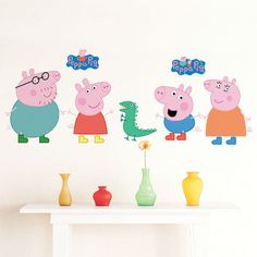 """Kid's favorite TV animation characters from Peppa Pig are now ready to cheer up your kid's room. Let them play! - Handmade item - Materials: High Quality Vinyl - Made to order - 40"""" width 18"""" height /"""