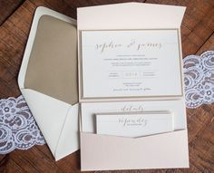 Modern Pink and Gold Invitation Lace Vintage by RebeccaGreenDesign