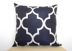 Pair of 2 Decorative Pillows - Moroccan Quatrefoil Lattice Pillows - 18 inch - Navy Blue - Trellis Pillows - Designer Pillows - Throw