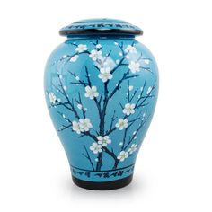 Hand Painted Ceramic Cremation Urn - Plum Blossom