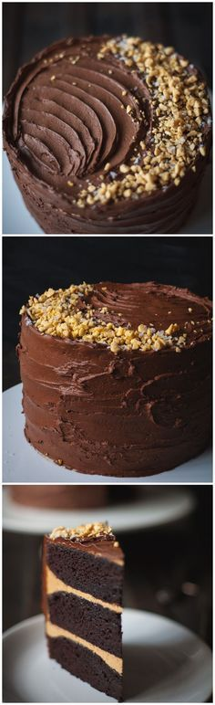 Chocolate cake with salted caramel buttercream and crushed honeycomb candy, covered in dark chocolate ganache.