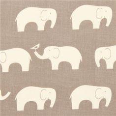 grey birch organic fabric with white elephants USA 1