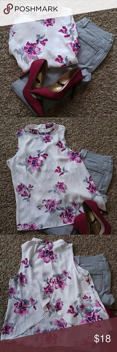 """Forever 21 Blouse This blouse is beautiful.  Open in the back.  It buttons at the back of the neck.  I wore this one time.  It is in excellent condition.  Sheer.  Size S.  From pit to pit it measures 18"""".  Purple, mauve, navy blue and gray all on an ivory background. Forever 21 Tops Blouses"""