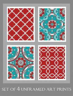 Hey, I found this really awesome Etsy listing at https://www.etsy.com/listing/193204303/red-and-turquoise-decor-set-of-4-8x10